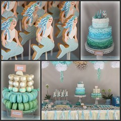 Mermaid Party collage (Bubble and Sweet) Tags: ocean blue party cake cookie mermaid ruffle macaron