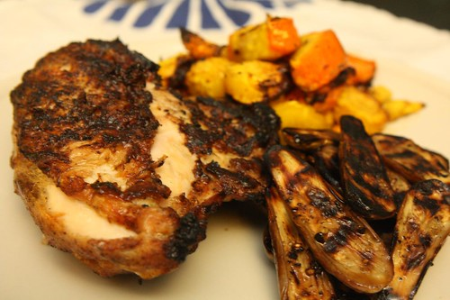 Grilled Chicken Breast, Roasted Rainbow Carrots, and Grilled Fairy Tale Eggplant