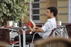Man reading in Valencia Spain (stenaake) Tags: city man valencia outside reading cafe spain