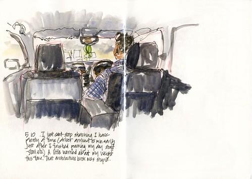 22 Thu04_07 Still sketching- cab to heathrow