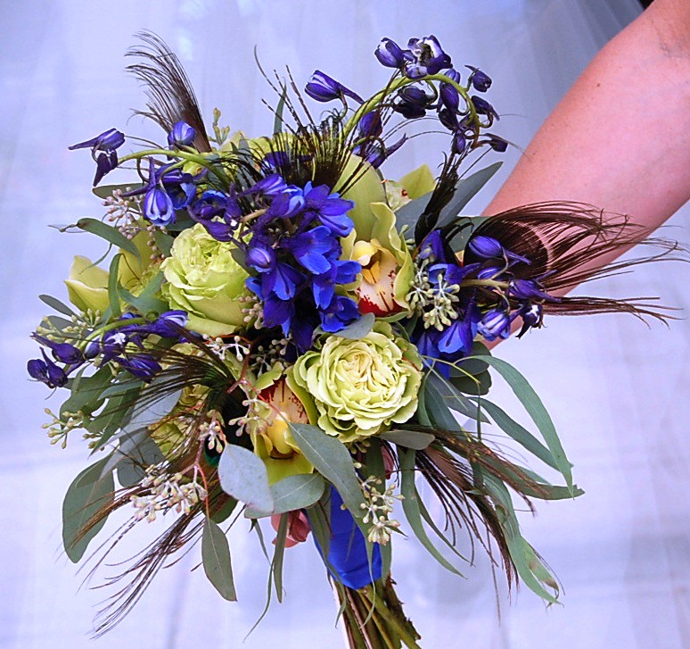 Blue and Green Bouquet with Peacock Feathers