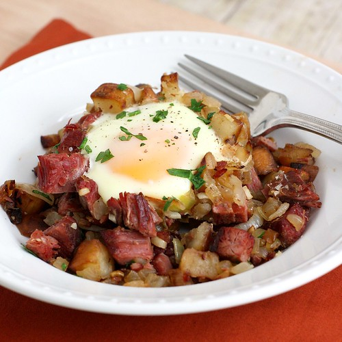 Baked Eggs with Corned Beef  Hash
