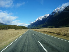 one road in (The Roaming Vance) Tags: road newzealand day roadtrip clear southisland fromthecar fjordlandnationalpark morntains