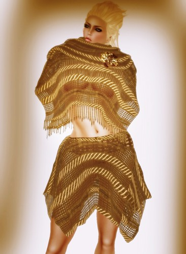 [Coming Soon] A&A Fashion Poncho Skirt Set Brown Honey