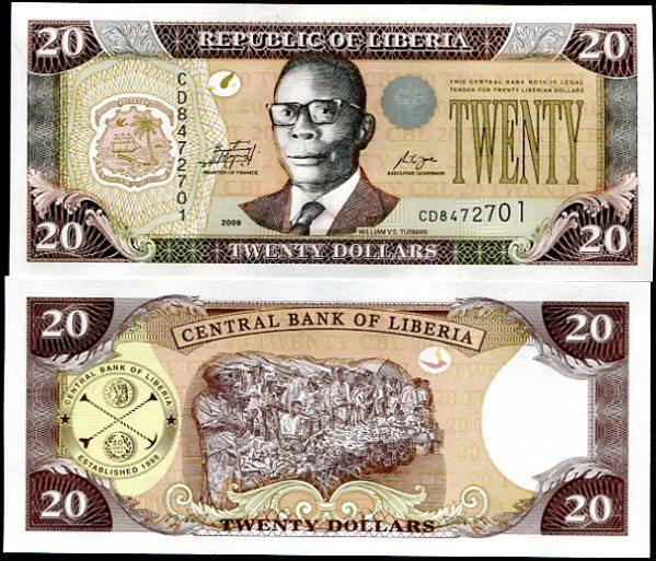 20 Dolárov Libéria 2009, Pick 28e