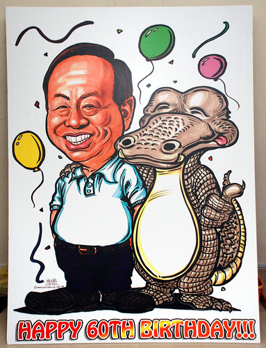 Caricature for Heng Long with crocodile printed on mobile standee - 1