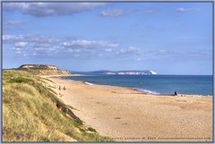 Polar Bear (Clearvisions) Tags: blue sea sky cliff seascape clouds sand waves polarbear radiostation clifftop hengistburyhead clearvision clearvisionsphotography clearvisions osleofwhite
