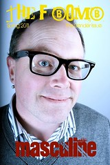 The F-Bomb masculine cover features a head-shot of a white man wearing glasses and a collared shirt with a sweater over it