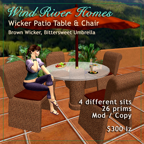 Patio Table & Chairs, Brown Wicker