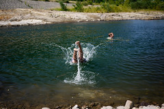 Cooling off (swimming) in the Toyohira River, Sapporo, Japan