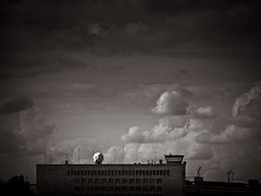 berlin-tempelhof (miemo) Tags: city travel roof summer sky bw building berlin clouds germany airport europe exterior olympus terminal dome radar tempelhof ep1 omzuiko100mmf28