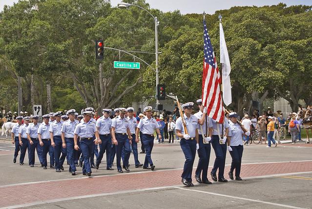 Coast Guard Marching in Uniform