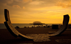 Passacaglia (garryknight) Tags: 1855mmf3556 40d brighton canon charleshadcock passacaglia sussex westpier beach lightroom people sculpture sunset finearts allrightsreserved copyright