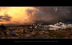 Transitions (Goldpaint Photography) Tags: light sunset panorama lake snow storm mountains reflection rain hail clouds forest pass peak granite pacificcresttrail lightning sierranevada thunder anseladamswilderness johnmuirtrail goldpaintphotography