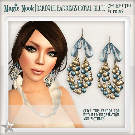 [MAGIC NOOK] Baroque Earrings (Royal Blue)