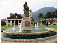 St. Anne sanctuary, Bukit Mertajam: Dataran St Anne in the foreground, with the church and administrative office behind