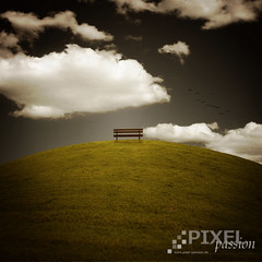 ~ silent moment ~ (~ Pixel Passion ~) Tags: blue light summer sky white mountain holiday green clouds bench landscape scenery mood moody colours silent shine hill atmosphere sunny manipulation silence colourful atmospheric