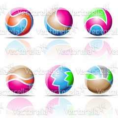 spheres, beach balls (Cidepix.com) Tags: blue sea orange brown abstract reflection green beach water sign set illustration ball emblem circle idea design 3d globe shiny colorful aqua purple graphic symbol drawing geometry web stripe magenta style nobody icon line glossy whitebackground sphere round geometrical elegant curve shape vector isolated futuristic element beachball cidepix