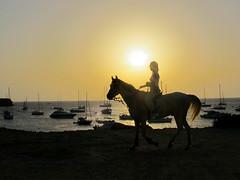 Judy and the Dream of Horses (Angel Salguero) Tags: sunset sea espaa horse woman boats caballo mar mujer spain barcos rider jinete formentera ocaso calasaona