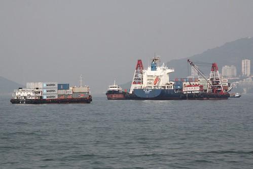 Mid-stream cargo handling off Lamma Island, Hong Kong