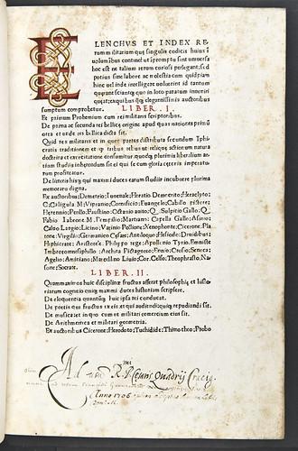 Epigraphic initial and provenance inscription in Valturius, Robertus: De re militari