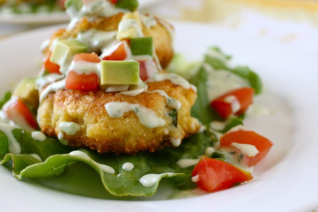 Corn Cakes with Tomato Avocado Relish