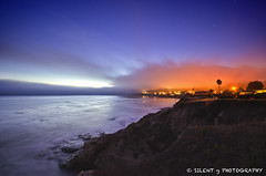 Fire in Shell Beach (Silent G Photography) Tags: california ca longexposure sunset cliff fog night wideangle pacificocean pismobeach shellbeach marinelayer markgvazdinskas silentgphotography