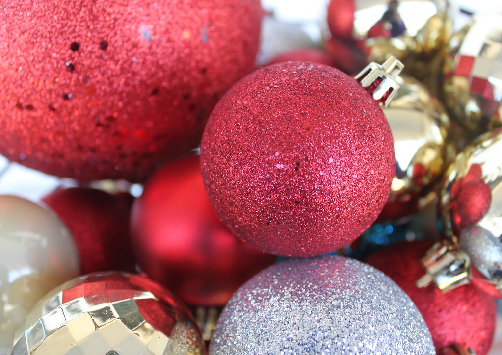 Christmas Ball Ornaments in Red, Gold, Silver and Blue