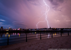 Lightning over New Brighton (*Richard Cooper *) Tags: new storm weather brighton lightning mersey wallasey marinelake wirral newbrighton merseyside riversidebowl