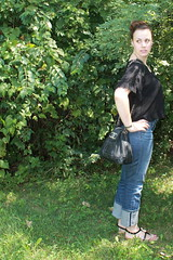 Outfit - jeans, vintage Chenel bag, sheer crop top
