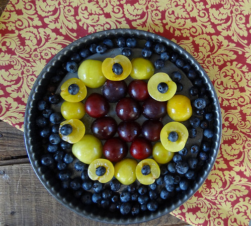 purple + golden plum blueberry clafouti