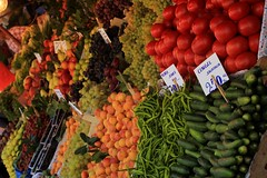 Colorful produce (Joshua Sterrett) Tags: vegetables turkey shopping vegan tomatoes istanbul fresh marketplace veggies shoppers kadikoy