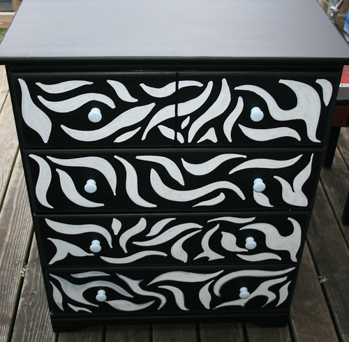 Zebra Design Four Drawer Dresser by Rick Cheadle Art and Designs