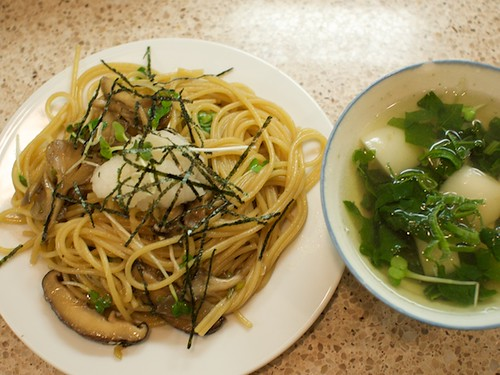 mushroom spaghetti and radish soup