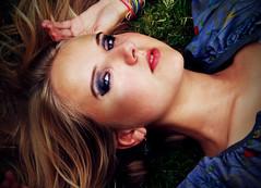 pose (tashparsons) Tags: blue summer portrait face intense eyes down lying
