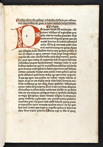Penwork initial in Eusebius Caesariensis: Historia ecclesiastica