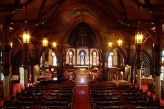 St. John's Anglican Church (Interior) (Iguanasan) Tags: windows canada church architecture stars lights novascotia cross interior stjohns stainedglass pew alter anglican buliding lunenburg nspp