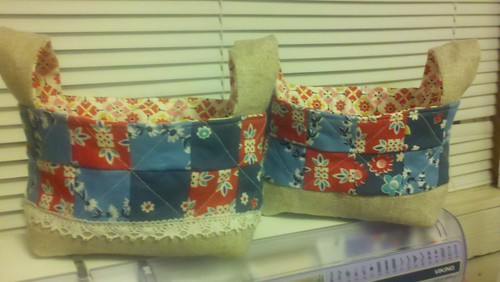 Red and blue fabric baskets