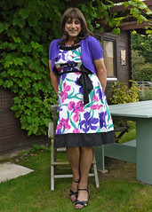 Now where was that garden party? (Nicole la Chic) Tags: tv cd transgender twirl transvestite summerdress crossdresser tg wedges tgurl