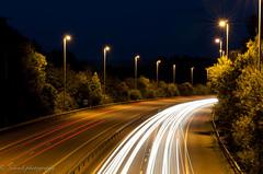 Light Trail 2 (noowb) Tags: uk cars night speed traffic motorway hampshire slowshutter lighttrails southampton m27 d300s nikon2470mmf28