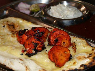 Cheese naan and kebab