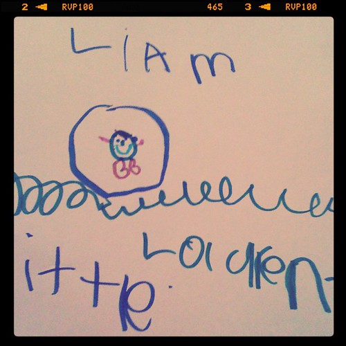 Liam's first portrait, courtesy of my 5-year-old cousin Lauren.