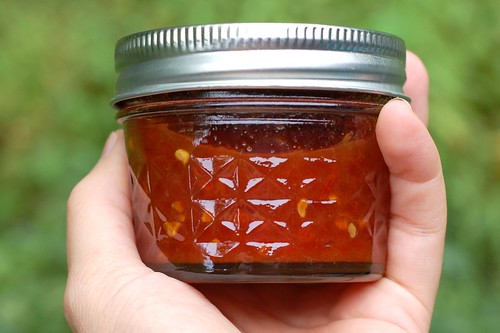Jar of tomato jam by Eve Fox, Garden of Eating blog, copyright 2011