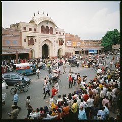 Teej (Penelope's Loom) Tags: india film festival mediumformat square 50mm crowd hasselblad procession jaipur 500cm teej