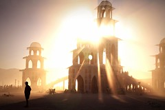 Burning Man: The Temple at Sunset (Little Lioness) Tags: travel sunset canon awesome nevada taxidermy blackrockcity theburn thetemple bearslayer whatisburningman sarahbartell naturepunk cougarheaddress