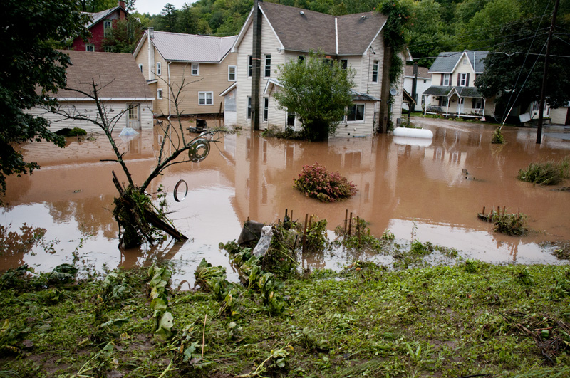 Sonestown, PA after the flood (taken on Thursday, September 8, 2011).  This little town at the bottom of the hill received a huge amount of water.