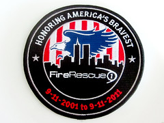 Embroidered 9/11 10th Anniversary Logo Patch (shaire productions) Tags: city nyc blue red white newyork black building silhouette skyline logo design cityscape image eagle stripes 911 shapes newyorkskyline twintowers september11 patch embroidered september11th