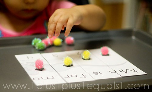 M is for Mouse Puzzle and Magnet Work using Printable from All Our Days (Photo from 1+1+1=1)