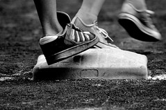 Running the bases (Robert T. Britt) Tags: blackandwhite bw portland baseball bokeh sneakers laborday pgepark portlandbeavers firstbase runningbases