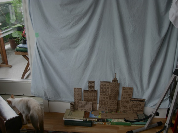 mini cardboard city skyline